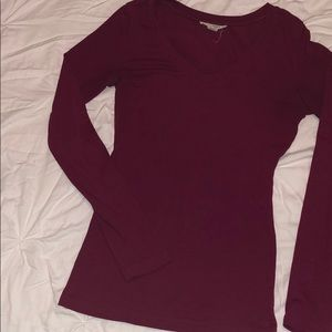 Red/Maroon women's long sleeve fitted v neck